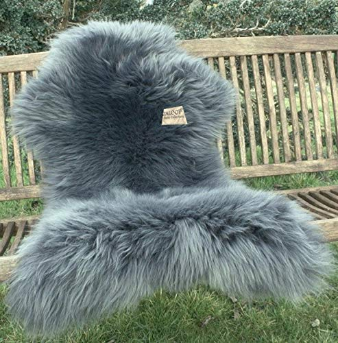 Zaloop Lammfell Schaffell grau versch. Größen echtes Fell Neu (grau, ca. 130-140 cm)