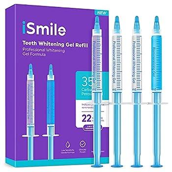 iSmile Teeth Whitening Gel Syringe Refill Pack -  3  3ml Whitening Gel Syringes  1  Remineralization Gel Syringe No Sensitivity Premium Quality Use with LED Light and Trays
