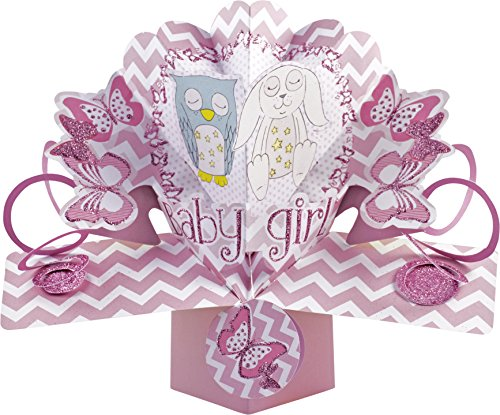 Pop-Up Card 19421 3D pop-up wenskaart Bedtime Buddy baby meisjes, multicoloured