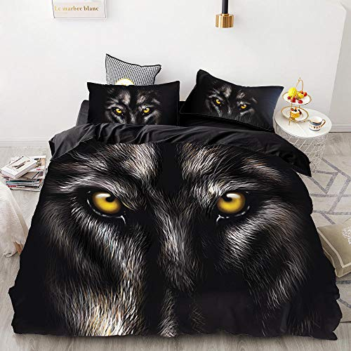 Anvvsovs Bedding Sets for Children, Children's Bedding, Black animal wolf, 3-Piece Bedding Set with Chain Zip and Pillowcase, Microfibre Duvet Cover for Girls Boys, (King size 220 x 230 cm ) -Boy's