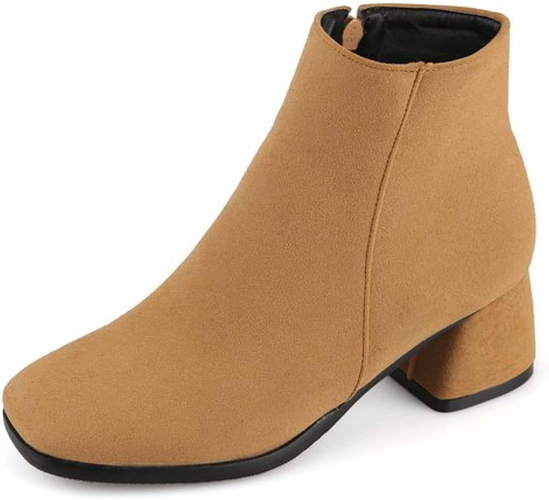 BalaMasa Girls Zipper Kitten-Heels Square-Toe Frosted Boots