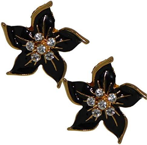 STARFLOWER gold plated black clip on earrings