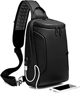 Sling Bag for Men Crossbody Shoulder Sling Backpack Waterproof Chest Bag with USB Charging Port 9.7 Inch Casual Daypack w/Water Bottle Holder