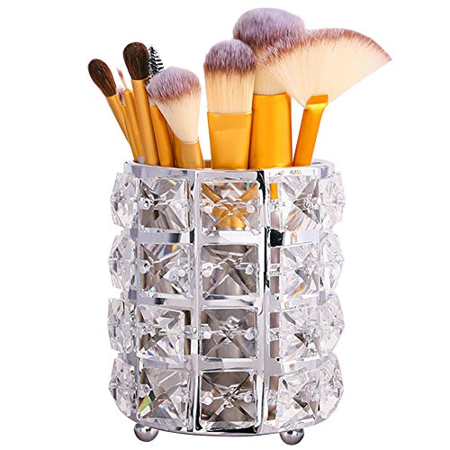 Tasybox Crystal Makeup Brush Holder Organizer, Handcrafted Cosmetics Brushes Cup Storage Solution (Silver)