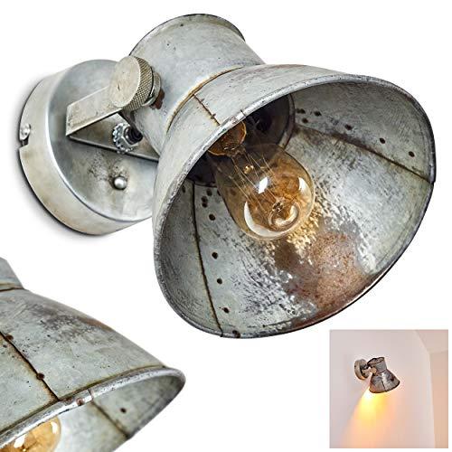 Wandlampe Svanfolk, Wandleuchte aus Metall in Grau/Rostfarben, 1-flammig, mit verstellbarem Strahler, 1 x E27-Fassung, max. 25 Watt, Industrial-Design