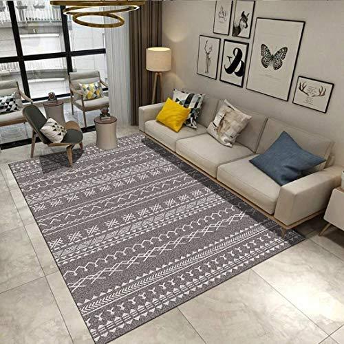 Moderno Resumen Alfombras de área Sala Cuarto Manta Alfombras Clásico Geométrico Impreso Suelo Esteras Negro Blanco Alfombras (Color : D, Size : 80x120cm)