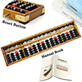 hexing Vintage Style Wooden Abacus Soroban 17 Column(15 in) Math Professional Abacus for Adults Kids with Guide Handbook and Reset Button, Anti-Skid Rubber Feet