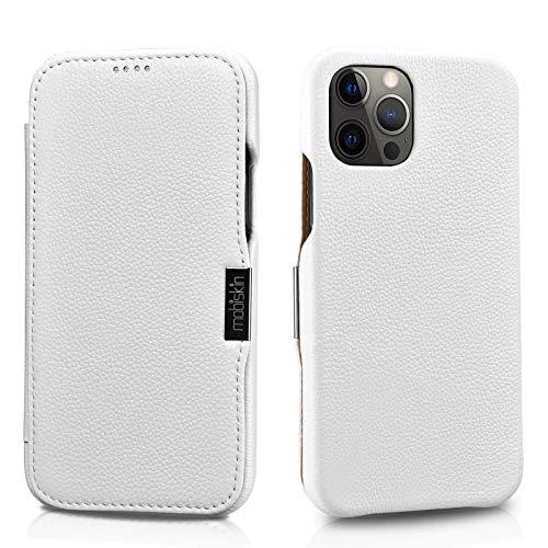 Mobiskin Hülle kompatibel mit Apple iPhone 12 & iPhone 12 PRO (6,1 Zoll), Handyhülle mit echtem Leder, Hülle, Schutzhülle, dünne Handy-Tasche, Slim Cover, Weiß