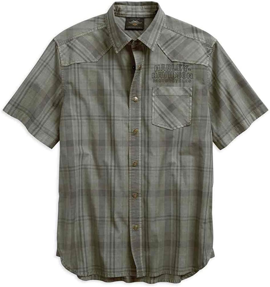 Harley-Davidson Men's Over-Dyed Plaid Short Sleeve Woven Shirt 96540-19VM