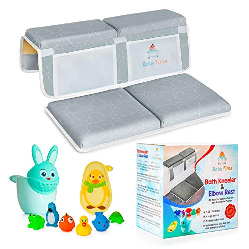 BathTime Baby Bath Kneeler and Elbow Rest Pad Set - 1.75-Inch Bath Kneeling pad for Knee & Arm Support Pads - Bathtub Kneeler Pad - Set Includes Baby Bath Accessories, Bath Rinse Cup