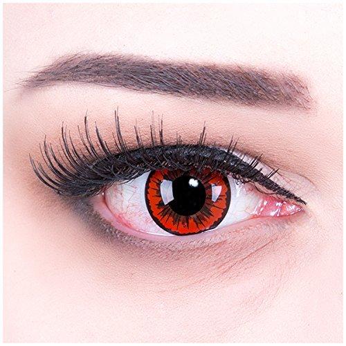 Farbige rote Crazy Fun Kontaktlinsen 'Red Demon' Engel mit gratis Linsenbehälter + 60ml Pflegemittel Topqualität zu Karneval und Halloween