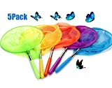 USATDD Kids Telescopic Butterfly Fishing Nets Great for Catching Insects Bugs Fish Caterpillar Ladybird Nets Outdoor Tools Colorful Extendable 34' Inch (5 Pack)