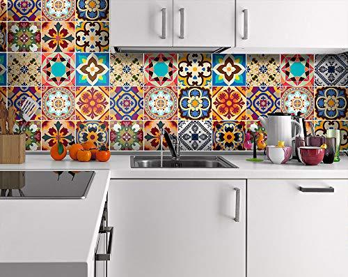 Sticker Tile Stickers Talavera Decals Talavera Traditional For Kitchen Kitchen Backsplash Home Peel & Stick Vinyl Adhesive Tiles(Set 12 Units)