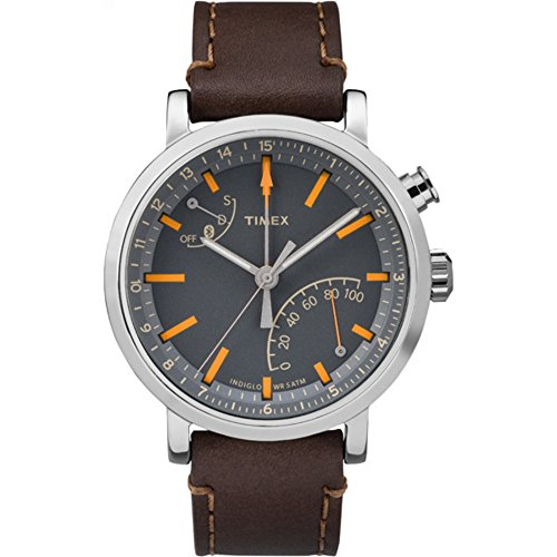Timex Metropolitan + Bluetooth Brown, Brushed Steel, Grey, Orange Sport Watch – Sport Watches (Brown, Brushed Steel, Grey, Orange, Stainless Steel, Water Resistant, Leather, Mineral, Glass)