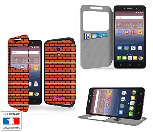Mur en briques Pixels Collection Pattern Portafoglio PU Pelle Custodia Protettiva Case Cover per Alcatel Pixi 4 6' 4G con Ventana de visibilidad - Casae Industry