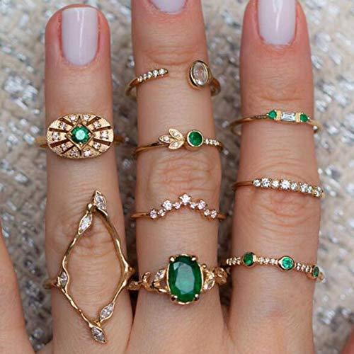 YERTTER Men 9 pcs Vintage Gold Ring Set Green Gem Rings Set Craved Rings Set Joint Knuckle Ring Set Finger Rings Stackable Retro Mid Rings for Women and Girls