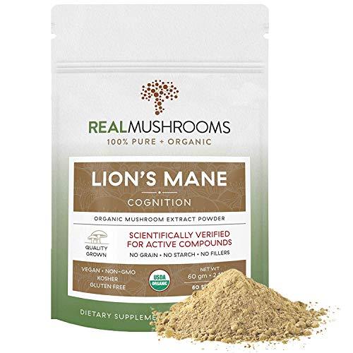 Lions Mane Mushroom Extract Powder, Vegan & Organic Mushroom Supplement for Clarity, Focus, Immunity, Non-GMO 60g Bulk Lion's Mane Mushroom Powder, Verified Levels of Beta-Glucans