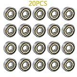 cococity 20 Pieces 608zz miniatura Radial rodamientos de bolas 8 * 22 * 7 mm para la impresora 3D, modelo, accesorios de muebles, línea de montaje