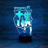 Luces de noche LED 3D Luz de noche 3D Barcelona Messi Team Illusion Lámpara de mesa LED 7 colores Control remoto táctil Lámpara de humor de color Lámpara de noche de dormitorio USB