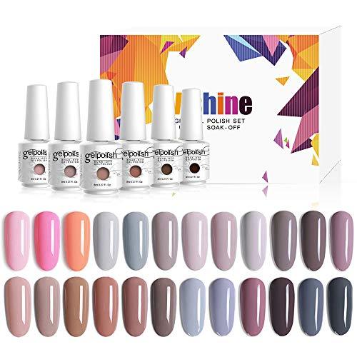 Vishine 24 Colors Gift Set Gel Nail Polish Kit Soak Off UV LED Nail Gel Nude Grey Pink Color GelPolishes Nail Art 8 ML/PC Pack of 24 Pretty Colors Series Kit