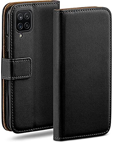 moex Klapphülle kompatibel mit Samsung Galaxy A12 Hülle klappbar, Handyhülle mit Kartenfach, 360 Grad Flip Hülle, Vegan Leder Handytasche, Schwarz
