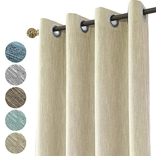 Melodieux 1 Stück Leinen Optik Verdunklungsvorhang Baumwoll Blickdicht Vorhänge Gardinen mit Ösen für Schlafzimmer Wohnzimmer Kinderzimmer, Beige 245 x 140