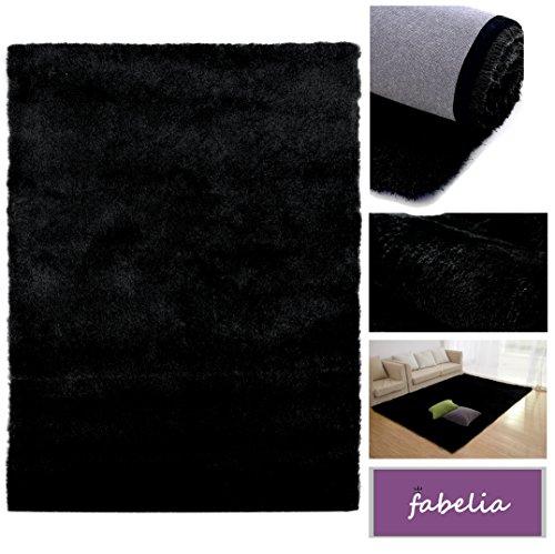Fabelia Alfombra de Pelo Largo Shaggy Gentle Luxus - Fino y Suave - Satin Luxury - Monocolor - Handtufted - Precio Super Económico (Alfombrilla/Antecama, 80 cm x 150 cm, Negro)