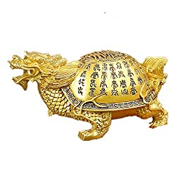 Feng Shui Resin Dragon Turtle Scripture Statue Home Decor Symbol Longevity Fertility