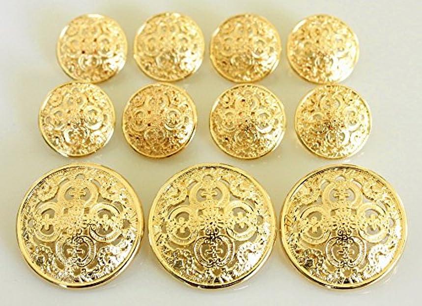 YCEE 11 Piece Gold Metal Blazer Button Set - Pierced Quadruple Club - For Blazer, Suits, Sport Coat, Uniform, Jacket