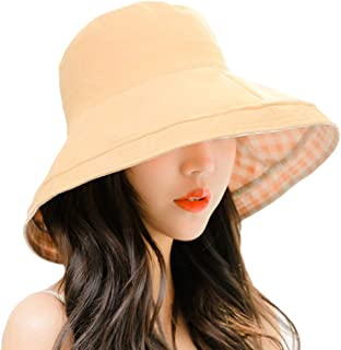 YiyiLai Cotton Double Sided Plaid Folding Bucket Summer Beach Hat Outdoor Cap