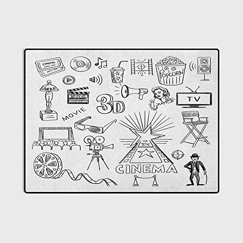 Movie Theater Bathroom Rug Rugs for Living Room Hand Drawn Symbols of Hollywood Oscar 3D Glasses Sketch Style Arrangement for Living Room/Dining Room/Bedroom Black White 6 x 7 Ft