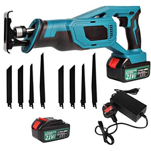 Chainsaws Sierra Recíproca Inalámbrica De 21V, Sierra Recíproca Eléctrica, Sierra Recíproca con 8 Cuchillas De Sierra, 2 Baterías De Ion Litio, para Madera Y Corte De Metal(Size:Una batería)