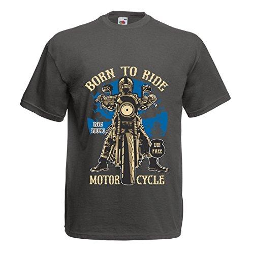 Camisetas Hombre Live Young - Die Free - Nacido para Montar en Moto, Ideas de Regalos para Ciclistas, Lemas inspiradores (Medium Grafito Multicolor)