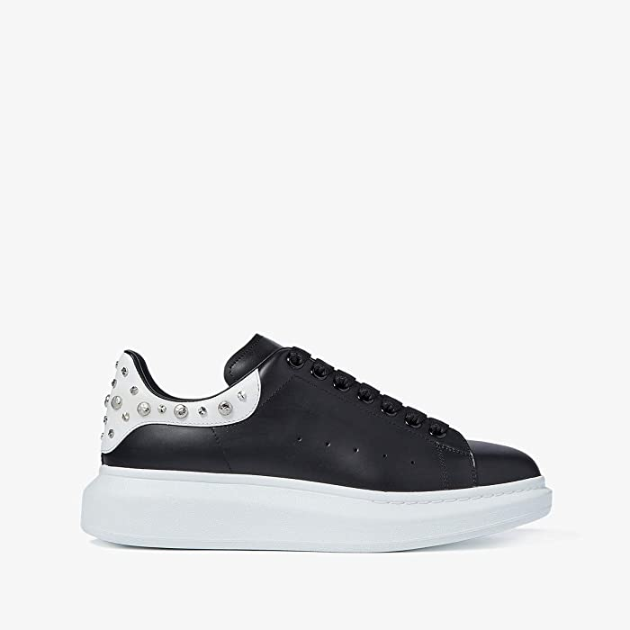 Alexander McQueen  Double Sole Studded Sneaker (Black/Bone) Mens Shoes