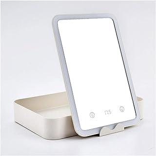 XZPENG Vanity Mirror Lights,LED Lighted Desktop Portable Folding Flat Adjustable Storage Makeup Mirror for Travel Parties Work (Color : White)