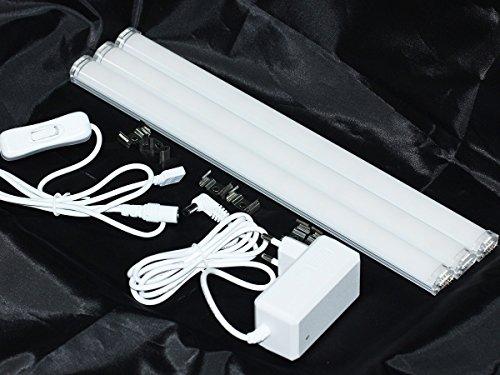 LEDPLAY Kevin Lot de 3 barres lumineuses LED pour sous-meuble, avec bloc d'alimentation, câble d'alimentation avec interrupteur Blanc chaud 3000 Kevin