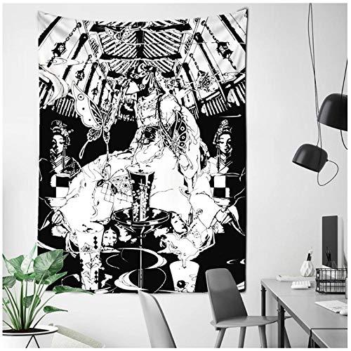 KBIASD Tapiz de Tarjeta de Tarot en Blanco y Negro, Colgante de Pared, brujería, Mujer, astrología, adivinación, Colcha, Alfombra de Playa, paño de Pared 150x130cm
