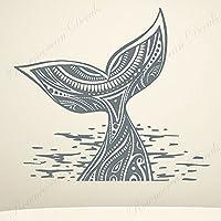ホエールウォールステッカー航海バスルームマリンアニマルウォールステッカービニールアーティスト家の装飾バスルーム取り外し可能な壁画64x57cm