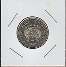 1990 DO National Arms Above Date 25 Centavos Choice About Uncirculated Details