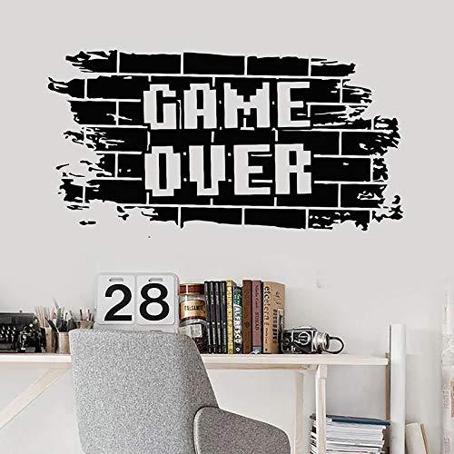 Game Zone Logo Bricks Game Over Video Game PS5 Xbox PC Gamer Etiqueta de la pared Calcomanía de vinilo Niño Dormitorio Sala de estar Sala de juegos Club Studio Decoración para el hogar Mural