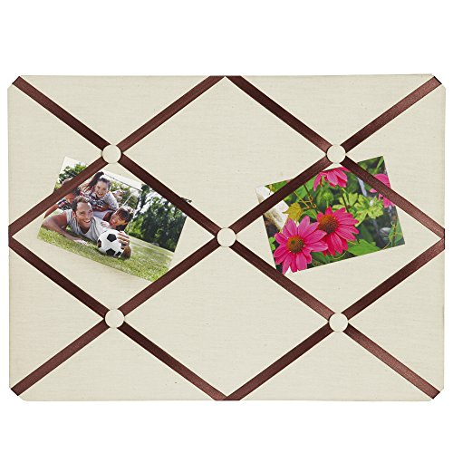 "Breeze Point Fabric Memo & Photo Memo Board, 15.75"" x 11.75"" Rectangular, Off-White/Metallic Bronze Ribbon,A99509"