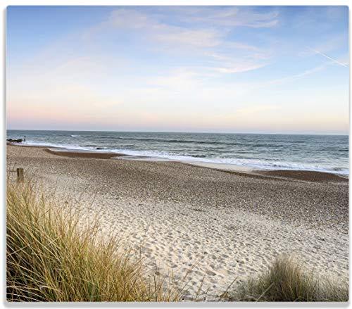 Wallario Herdabdeckplatte/Spritzschutz aus Glas, 1-teilig, 60x52cm, für Ceran- und Induktionsherde, Strandspaziergang im Urlaub an der Ostsee