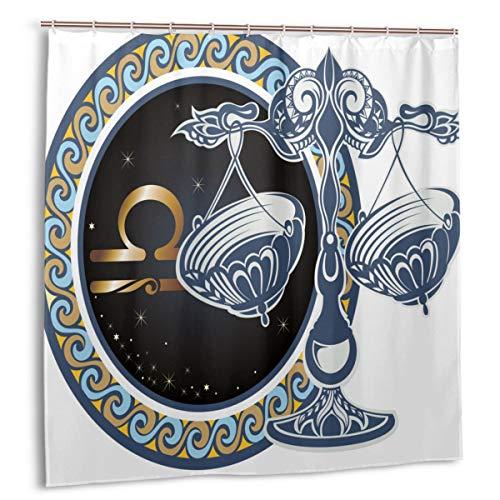 Airmark Duschvorhang für Badezimmer Dekor Vorhänge Set, Logo Waage Sternzeichen Stoff Bad Vorhänge mit Haken 72x72in