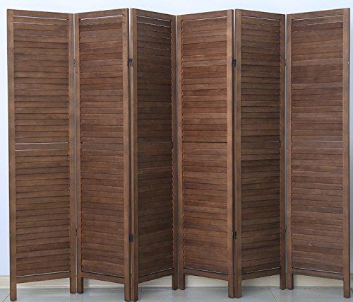 PEGANE Biombo persiana de Madera de 6 Paneles, Color marrón - Dim : A 170 x A 240 cm