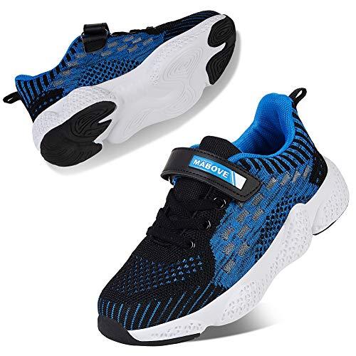 Kyopp Laufschuhe Kinder Turnschuhe für Mädchen Jungen Sportschuhe Kinderschuhe Outdoor Sneakers Klettverschluss Atmungsaktiv Unisex(1#Blue 33 EU)