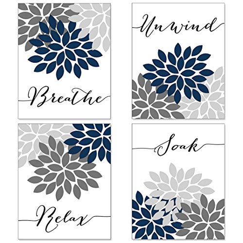 Relax Soak Unwind Breathe Bathroom Wall Decor, Bathroom Wall Art, Farmhouse Bathroom Decor, Bathroom Decor Wall Art, Relax Sign, Spa Decor (Set of 4, 8X10in, Unframed)