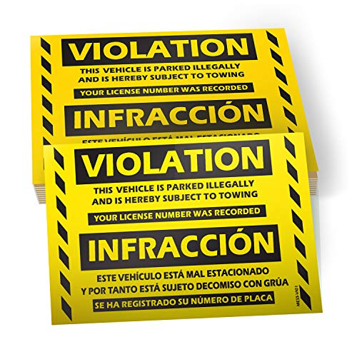 Parking Violation Stickers Hard to Remove (Yellow) 50-Pack Bilingual Towing Messages for Warning Cars and Private Parking Areas - Hard to Remove and Super Sticky 5' x 8' by MESS