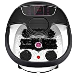 Foot Spa Bath Massager with Heat, Bubble Jets, Pedicure Stone, Motorized Shiatsu Massage Roller to Relieve Feet Stress, Foot Bath Tub with Adjustable Time & Temperature for Home Office Use (Black)