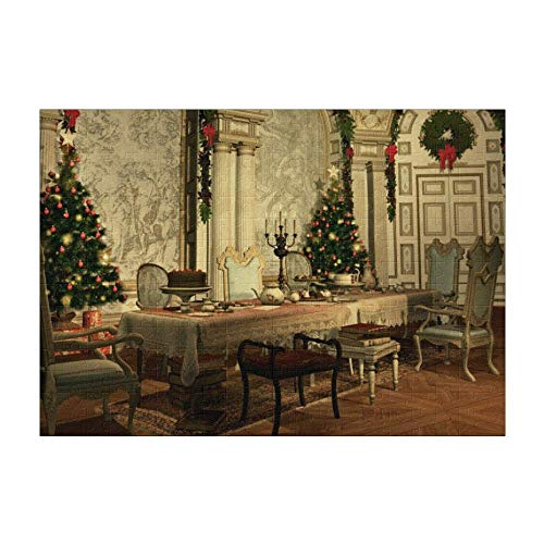 Christmas Tree Table Chairs 300 Pieces Puzzle (15 in x 10 in) Toy for Adults Kids Educational Gift Home Decor