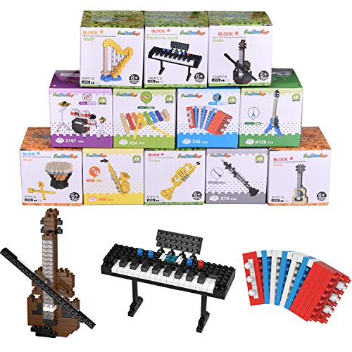 FUN LITTLE TOYS 12 Boxes Mini Music Building Blocks, Musical Instruments Set Party Favors for Kids